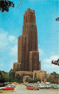 University Of Pittsburgh Pennsylvania~Cathedral Of Learning~NICE Red 1950s Cars