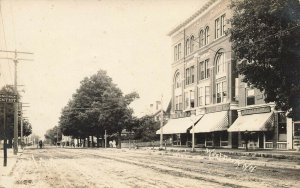 West Derry NH Dirt Street Storefronts Horse & Wagon Real Photo Postcard
