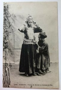 Indo-Chese Bride and Child Getting Ready Postcard RPPC