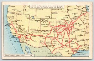 Chicago to Redlands CA~Santa Fe Railway Busy Person Map~X Marks Spot~1945 Linen