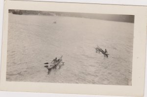 RP; Samoa , 1922 , USS North Dakota Visit, Outrigger canoes coming out to boat