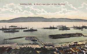 P1871 old postcard gibraltar birds eye view of ships in the harbour