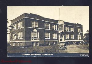 RPPC PALESTINE ILLINOIS TOWNSHIP HIGH SCHOOL ANTIQUE CARS REAL PHOTO POSTCARD