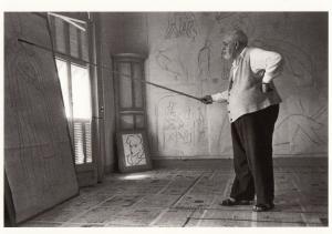 z80 Henri Matisse Painter Smoking Walking Art Stick  In His Studio Postcard