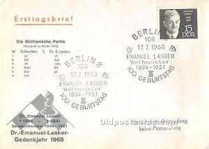 Old Vintage Chess / Checkers Postcard Post Card Schach Festival Berlin 1968 E...