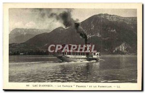 Lac d & # 39Annecy Old Postcard Steam France and Parmelan