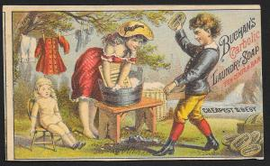 VICTORIAN TRADE CARD Buchans Carbolic Laundry Soap Girl Washing Dolls Clothes