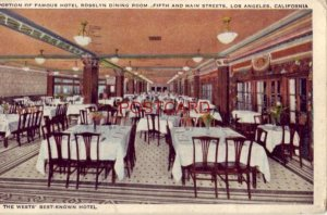 1930 FAMOUS HOTEL ROSSLYN DINING ROOM LOS ANGELES CA Ridgeway Tours - O.H. Shenk