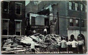 1915 Cincinnati, Ohio Postcard TORNADO DAMAGE SCENE 8th & Cutter Sts. Disaster