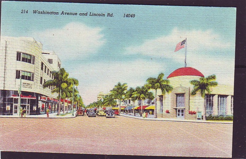 P1438 old unused postcard cars signs washington st lincoln rd miami florida
