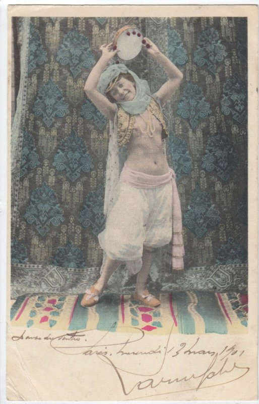 Topless Belly Dancer with Tambourine , 1901