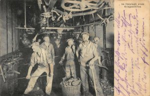 Germany in the boiler room of a Warship WWI Postcard