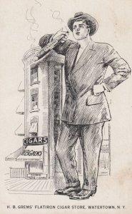 WATERTOWN , New York , 00-10s ; H.B.Grem's Flatiron Cigar Store