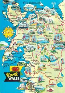 North Wales map postcard