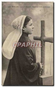 Old Postcard Morlaix Mourning Bonnet Study of Folklore Brittany Costume Caps