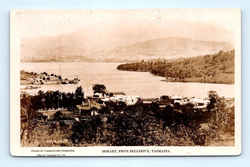 Postcard Australia Tasmania Hobart From Bellerive 1925 US Navy Fleet RPPC G17