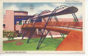 Postcard - NY - New York NYC Bridge of Tomorrow 1939 World Fair Posted