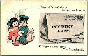 Vintage INDUSTRY, Kansas Greetings Postcard Mailman Comic Romance w/ 1914 Cancel