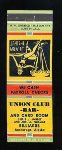 Anchorage, Alaska/AK Matchcover, Union Club Bar & Card Ro...