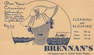 BRENNAN'S Cleaning & Blocking, Ocean Liner Cruise, Woman wearing hat, PU-1935