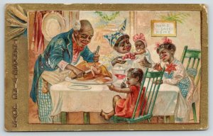 Black Americana~Family at Dinner Table~Carve Turkey~Mammy~Three Girls~Embossed
