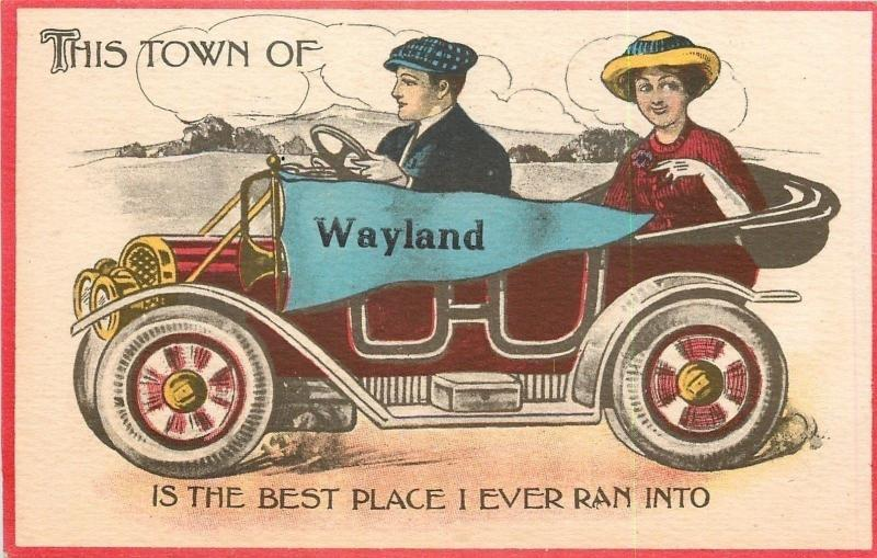 Wayland~Town Best Place I Ever Ran Into~Lady Gent~Vintage Automobile~Pennant PC