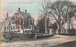 26221 MA, Wayland, 1915, A.B. Hastings House, stone gate in front