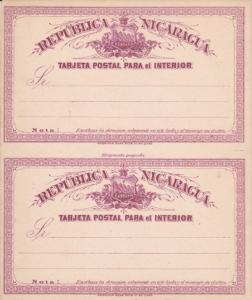 Republica Nicaragua, Tarjeta Postcal Para el Interior , 2 cards , 1890s