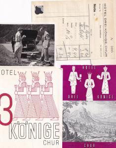 Hotel Drei Konige Chur 4x Swiss Photo Advertising Guide & Receipt