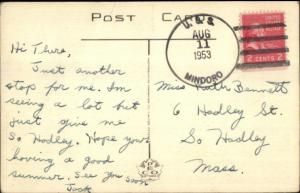 Naval Ship Cancel Cover USS Mindoro 1953 Mandeville Jamaica View Postcard