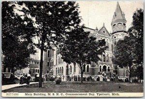 Ypsilanti, MI Postcard Main Building, MSNC Eastern Michigan University c1910s