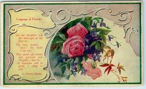 1910s Language of Flowers Postcard ROSE w/ Mexoja Coffee Ad on Back - Unused