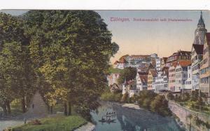 Boats, Neckaransicht Mit Platanenallee, Tubingen (Baden-Wurttemberg), Germany...