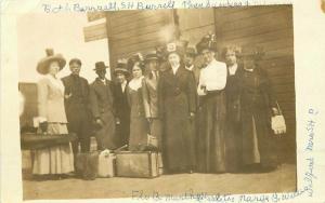 C-1910 Railroad Depot Travel group photo Violin Case RPPC Photo Postcard 3577
