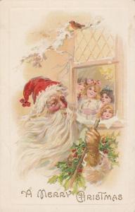 Children looking at Santa Claus - Merry Christmas Greetings - DB - A S Meeker