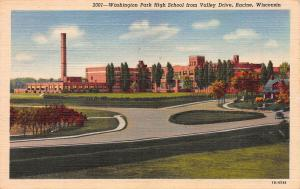 Washington Park High School, Racine, WI, Linen Postcard