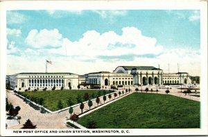 Vtg 1920s New Post Office and Union Station Washington DC Unused Postcard