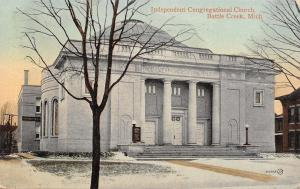 Battle Creek Michigan~Independent Congregational Church~Conservatroy Behind~1910