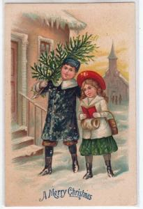 Merry Christmas, Boy & Girl with a Tree