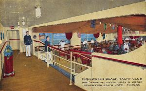 Edgewater Beach Yacht Club,Chicago, Illinois, Early Postcard, Unused