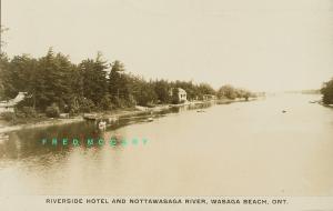 1933 Wasaga Beach Ontario Real Photo PC: Riverside Hotel & Nottawasaga River