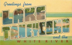 Lake Taneycomo White River Missouri multi 1940s Ozark linen Postcard 21-6002