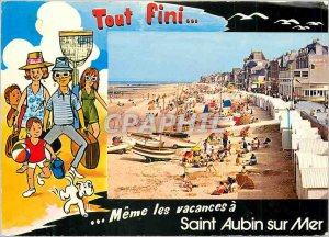 Modern Postcard Saint Aubin sur mer all finished even holidays