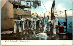c1900s Military Navy Postcard U.S. Sailors Life Cleaning Up Illustrated PC