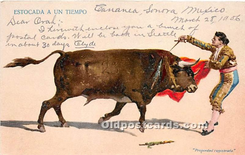 Old Vintage Bull Fighting Postcard Post Card Bull Fighting Postcard Estocada ...