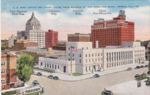 Illinois Peoria Post Office & Court House From Monroe Street and Hamilton Bou...