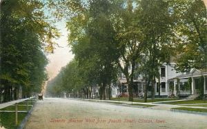 Clinton Iowa~Nice Homes on 7th Avenue~View From 4th~Publisher Hurd c1910