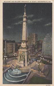 Soldiers and Sailors Monument - Indianapolis IN, Indiana - pm 1949 - Linen
