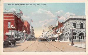 Fond du Lac Wisconsin Main & First Streets Antique Postcard V11684