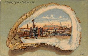 LP92   Baltimore Maryland  Oysters  Shell Border     Postcard